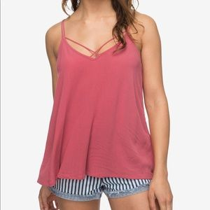 Roxy Strappy Tank Top in Berry XS
